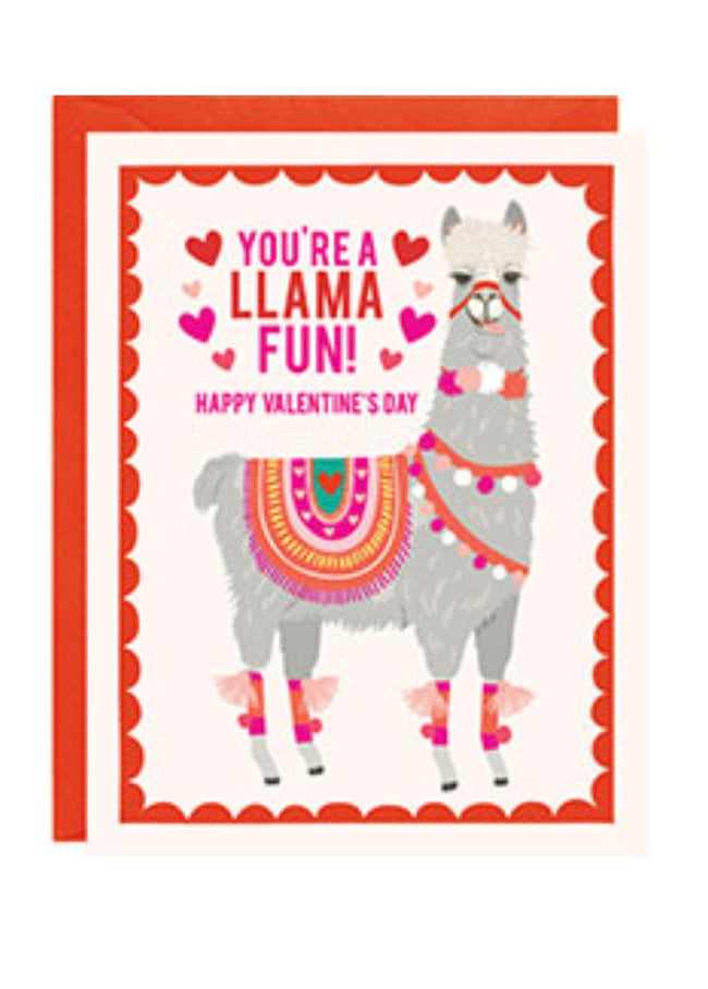 """You're a llama fun!"" Valentine's Day Card with llama"