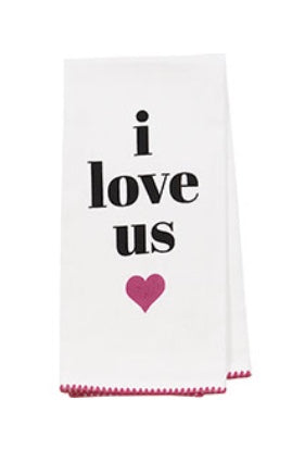 """I love us"" white kitchen tea towel"