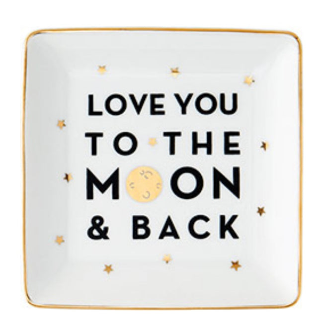 """Love you to the moon & back"" white trinket dish with gold details"