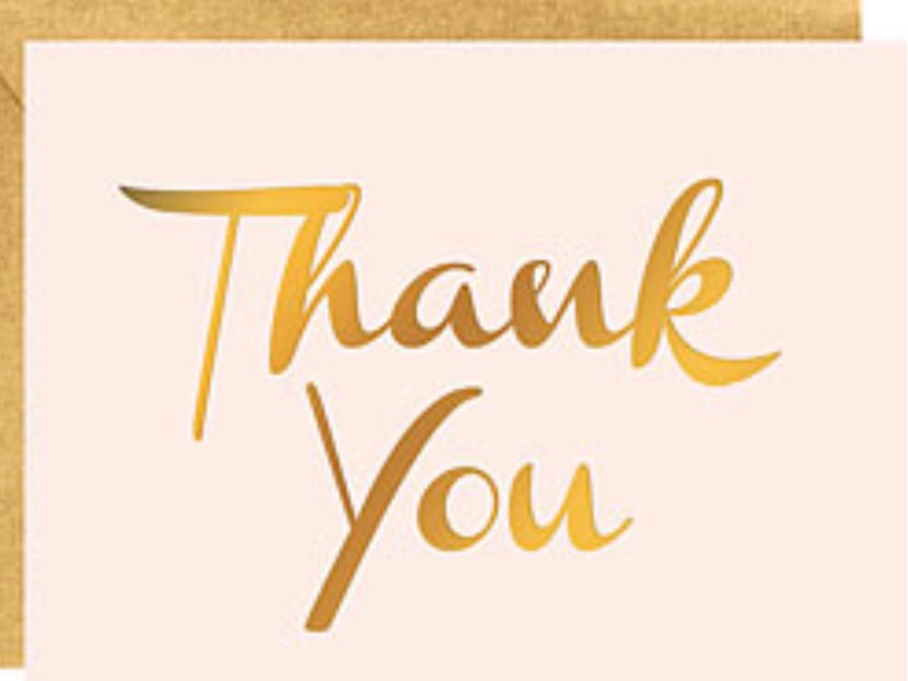 Thank You blush and gold foil card set