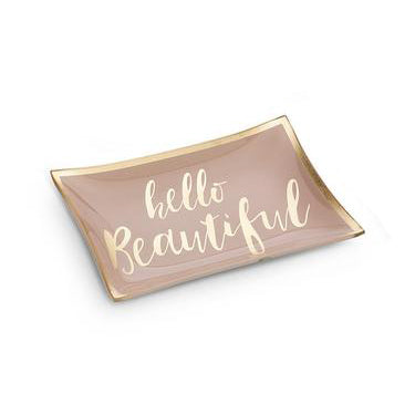 Hello Beautiful pink trinket tray.  Rectangular trinket dish with pink and gold. Perfect for your jewelry