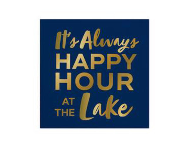 its always happy hour at the lake cocktail napkins