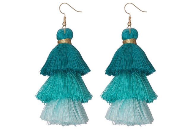 turquoise ombre tassel earrings