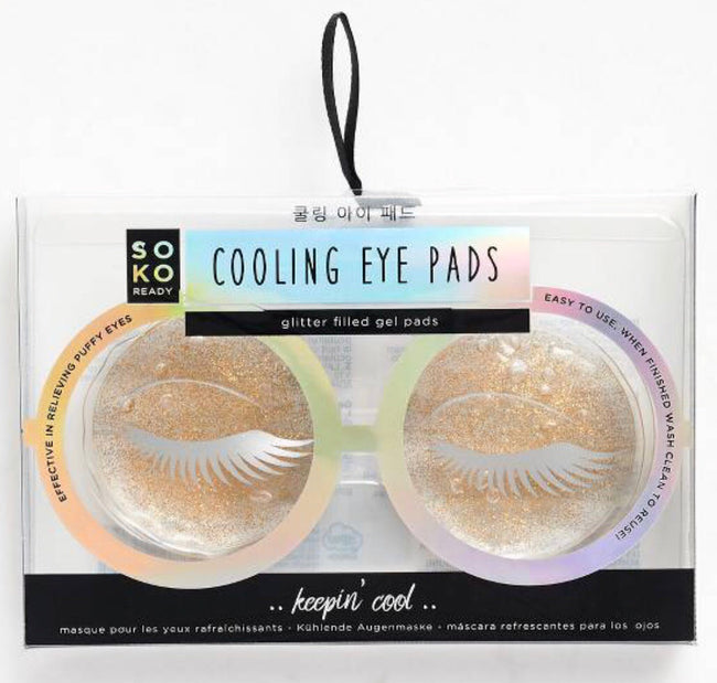 gold glitter cooling eye pads