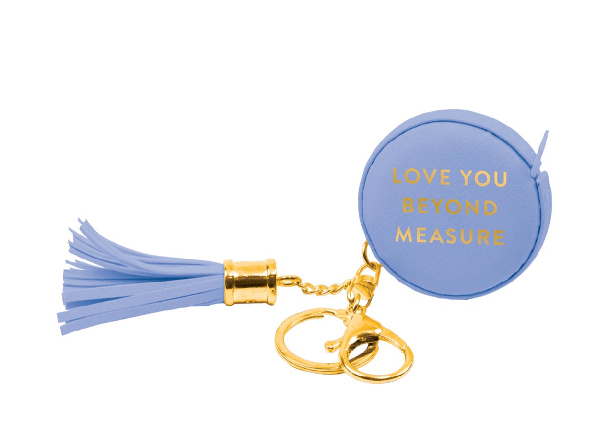 Love You Periwinkle Measuring Tape Keychain