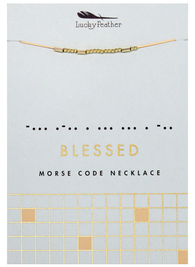 blessed gold morse code necklace