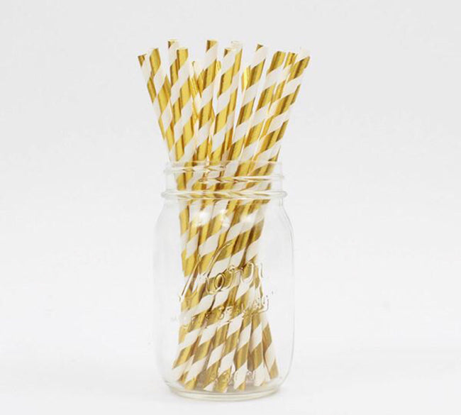 gold striped straws for a party