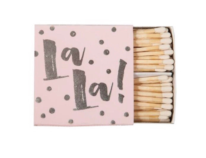 """ooh lala"" decorative matchbox matches coordinating colors"