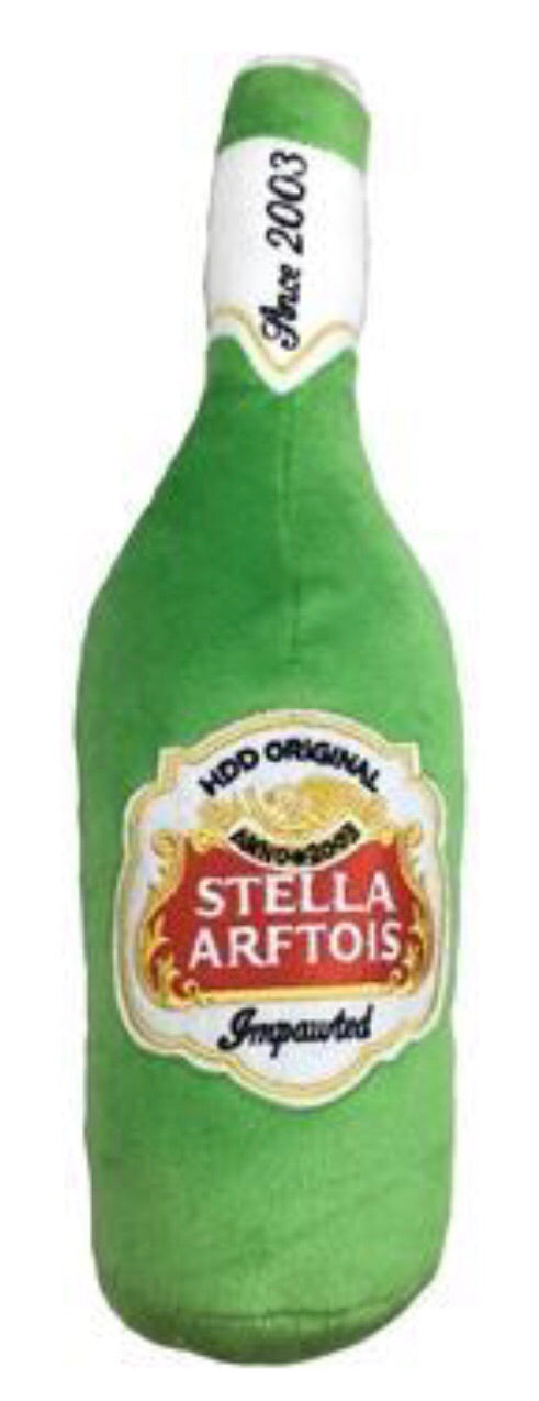 stella Artois beer bottle dog toy