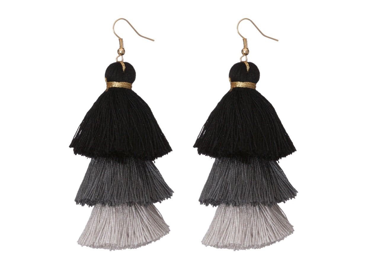 black ombre tassel earrings