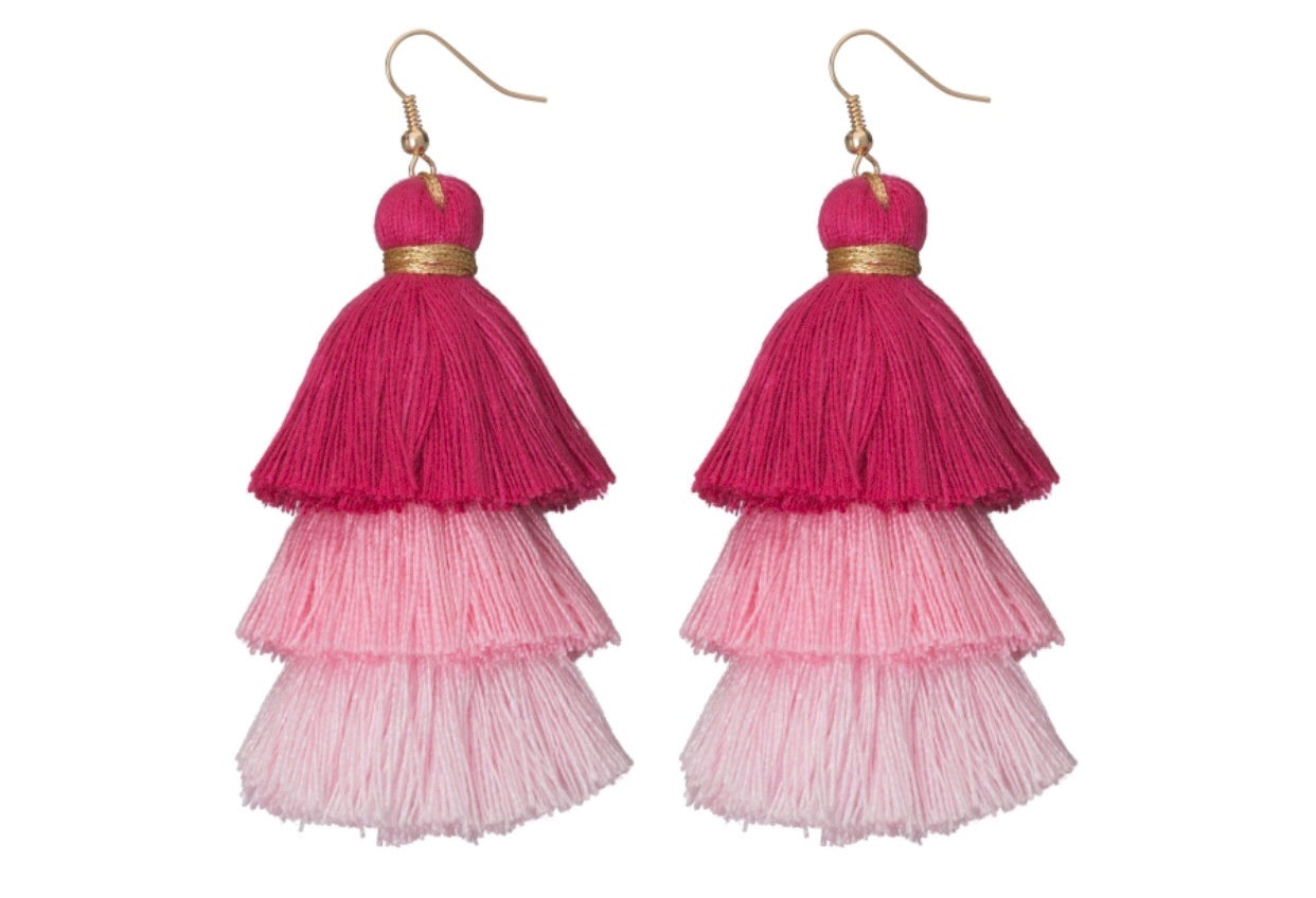 pink tassel ombre earrings