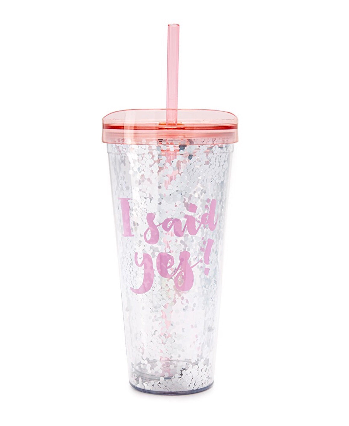 I said yes slant tumbler with glitter