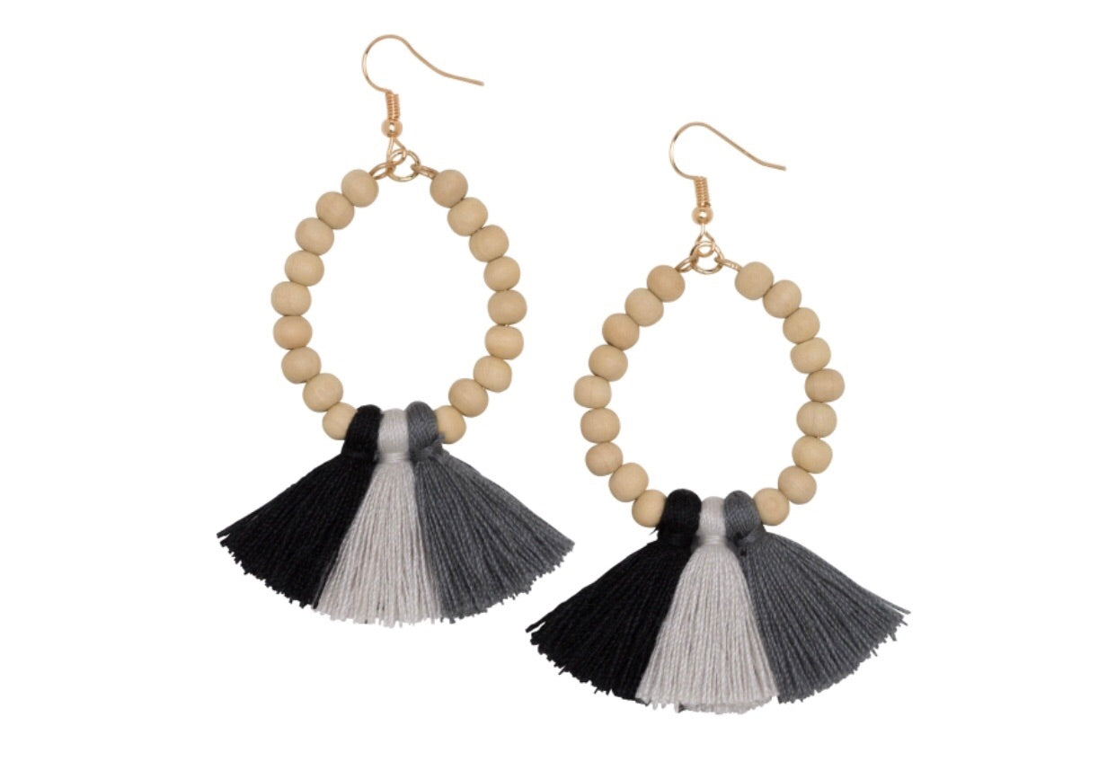 black ombre fan earrings