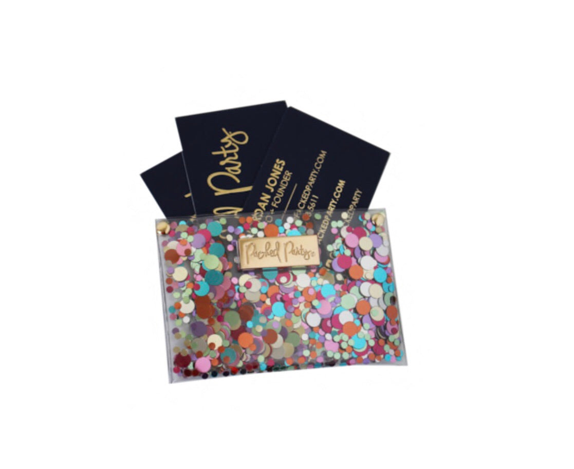 packed party confetti business card holder