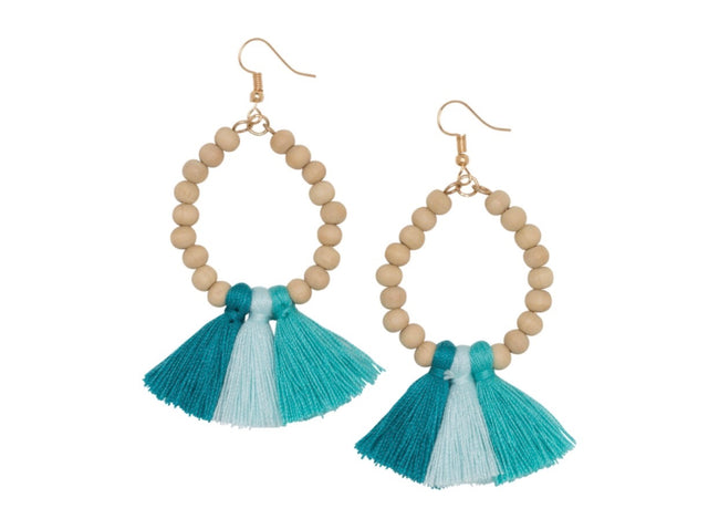 turquoise ombre fan earrings