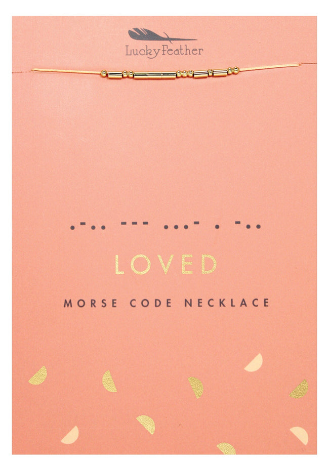 loved gold morse code necklace