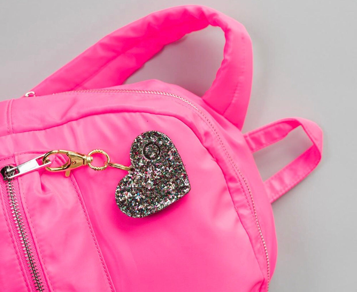 confetti heart alarm can clip on to your purse, book bag, etc