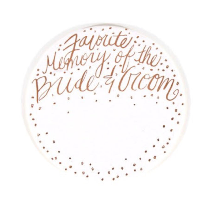 favorite memory of the bride and groom fill in drink coasters