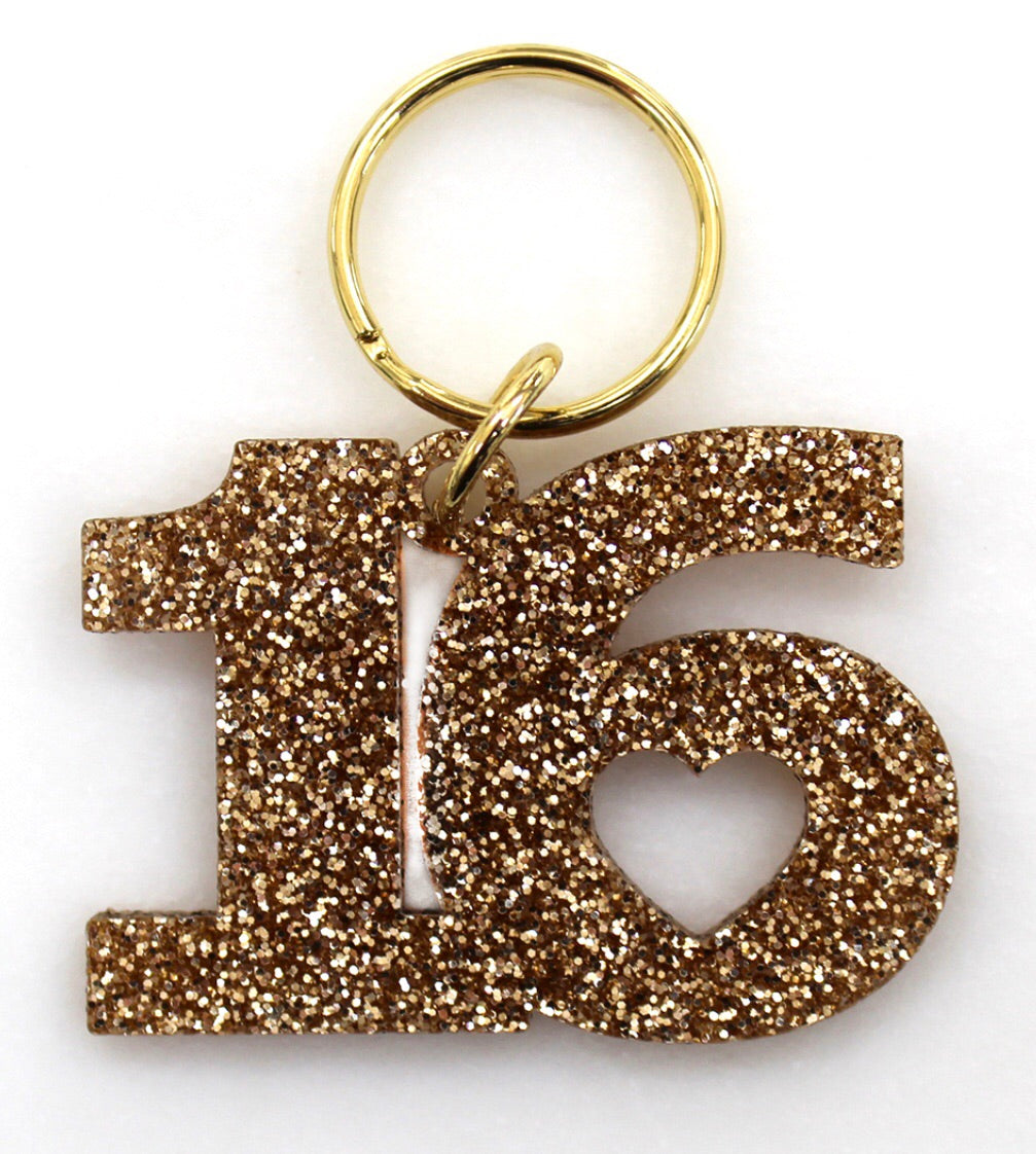 sweet 16 gold glittery chain