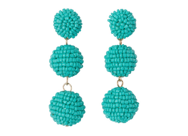 turquoise sead beed ball drop earrings