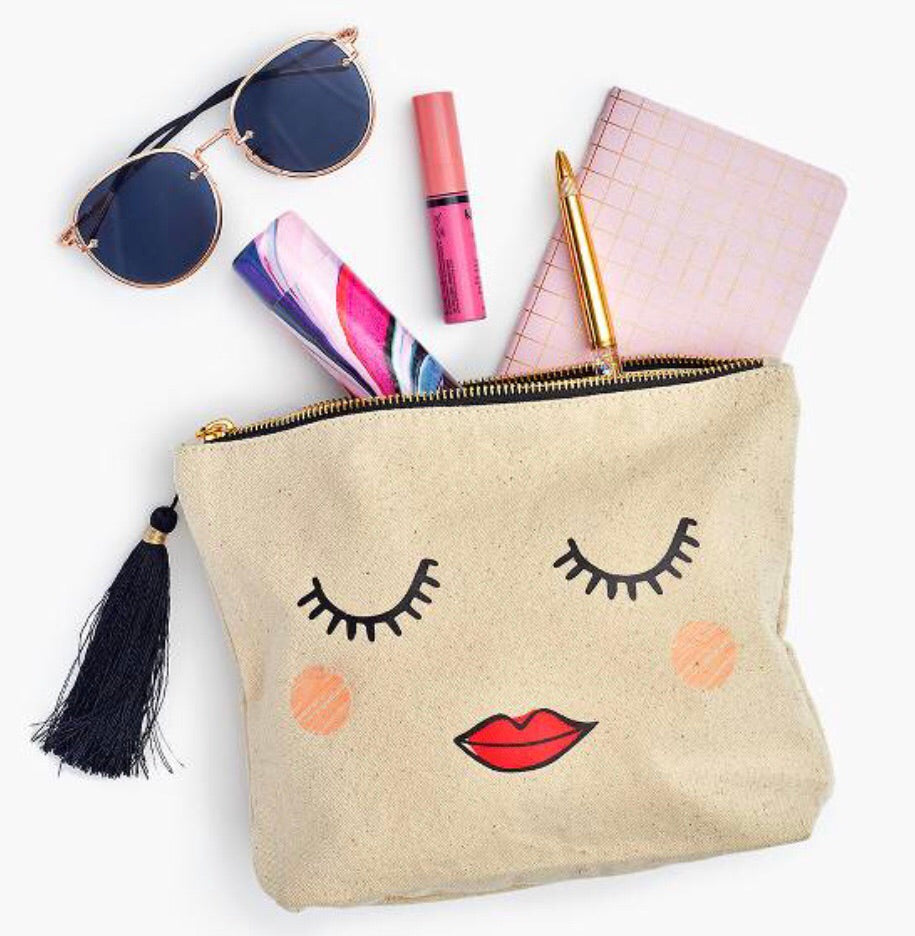 hey pretty bag with eyelashes and lips