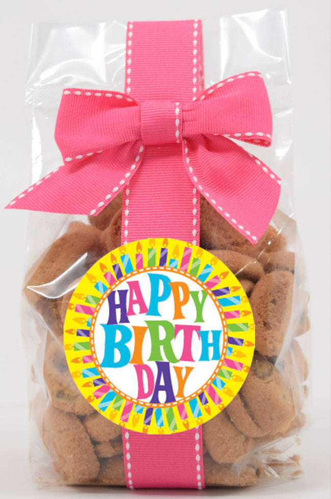 5 oz cello bag of happy birthday chocolate chip cookies