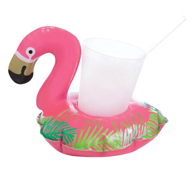 set of 2 inflatable flamingo drink holders! great for summer fun in the pool or ocean