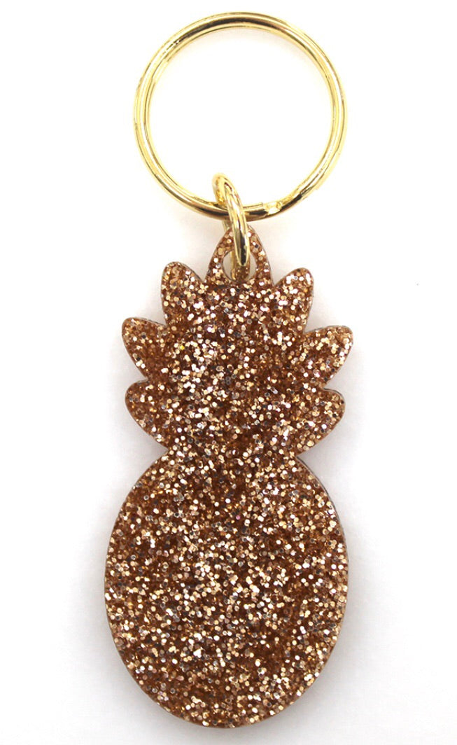 pineapple gold glitter keychain