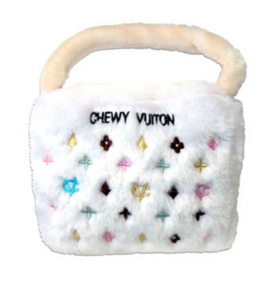Louis Vuitton white dog toy purse