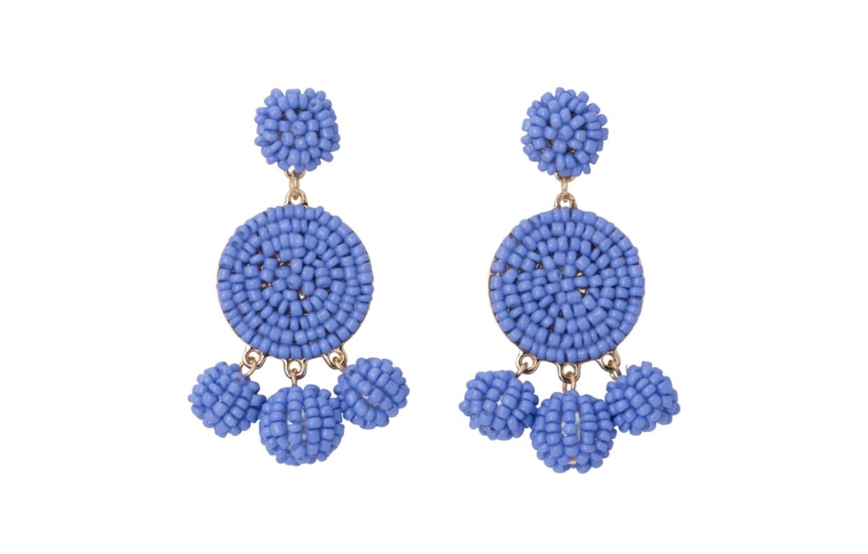 hydrangea seed bead circle earrings