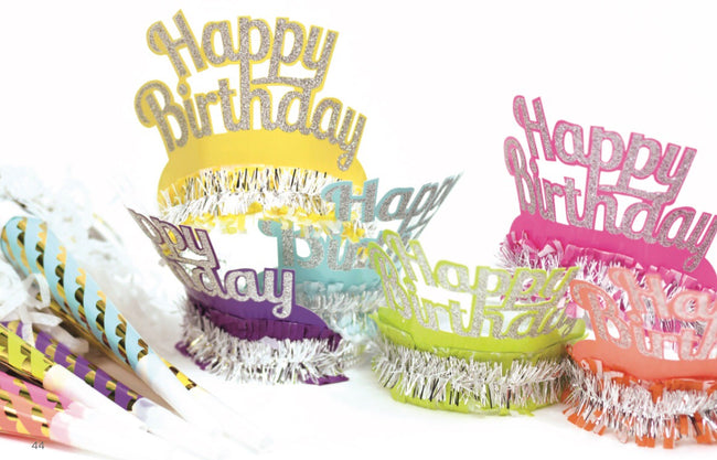 Happy Birthday horns and tiaras make any birthday party fun