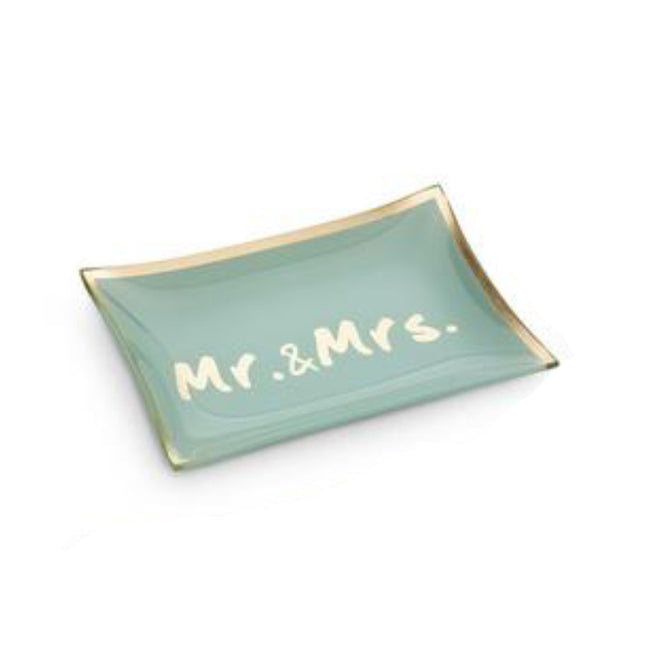 Mr. & Mrs. turquoise trinket tray for jewelry