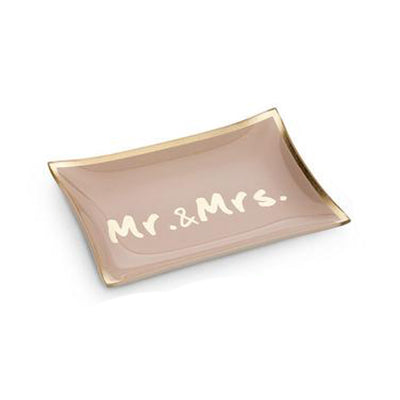 Mr. & Mrs. rectangular glass trinket tray for jewelry. great present for wedding or anniversary