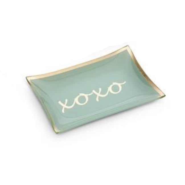 XOXO turquoise rectangular glass trinket tray. Great for anniversary and wedding gifts