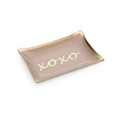 XOXO pink glass trinket dish. Great for jewelry or anniversary present