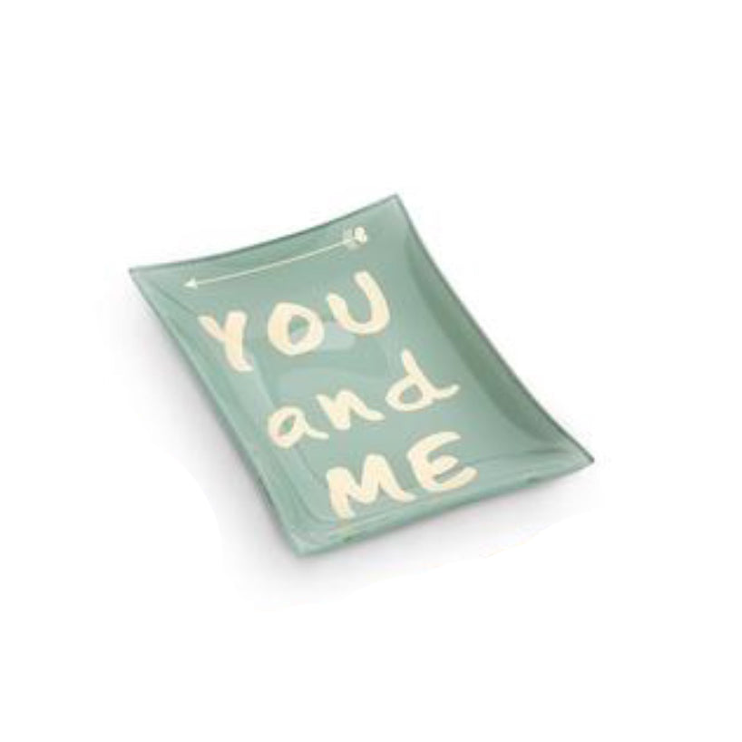 you and me turquoise and gold rectangular trinket dish. great for anniversaries and weddings