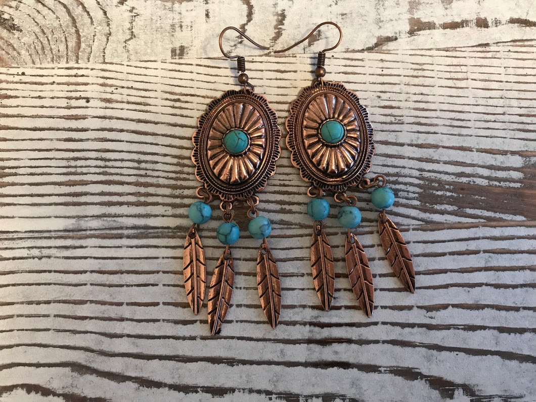 Copper Concho Feather Earrings