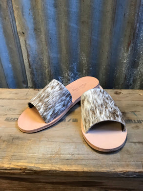Chocolate Cowhide Slides- Size 8