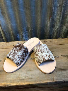 Chocolate Cowhide Slides- Size 9