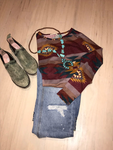 Burgundy Aztec Long  Sleeve Top
