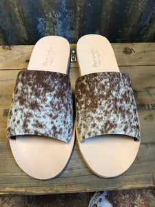 Chocolate Cowhide Slides- Size 11