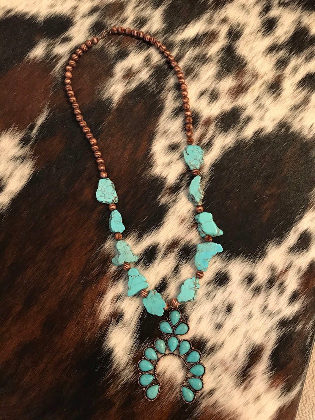 Copper Stone & Horseshoe Necklace