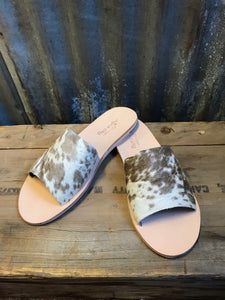 Chocolate Cowhide Slides- Size 10