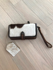 STS White & Brown Cowhide Cross Body Wallet