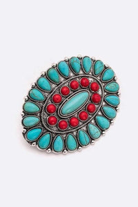 Turquoise & Red Stone Clip