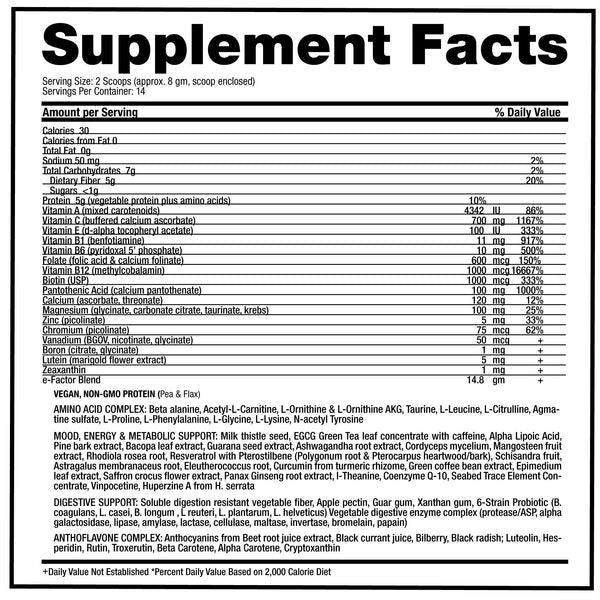 e-Factor supplement facts
