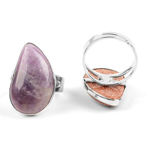 Image of Adjustable Natural Stone Drop Ring - Amethyst
