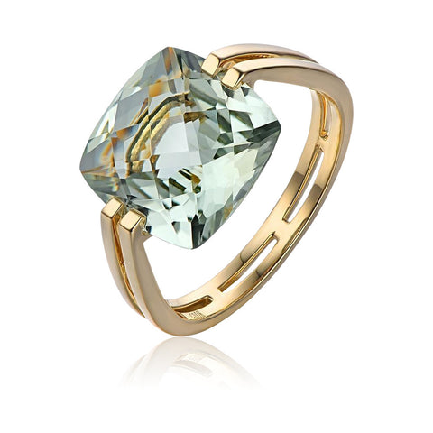 Image of Green Amethyst Solitaire 14k Gold Ring
