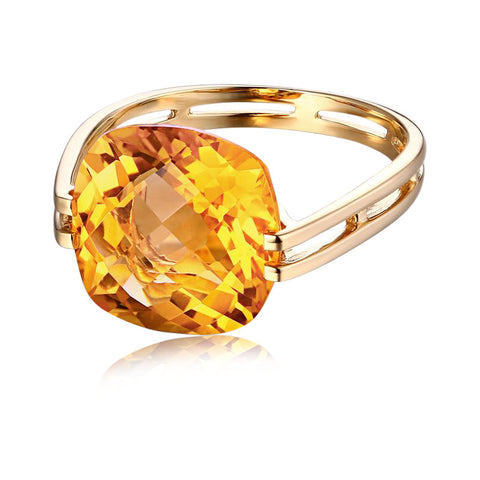 Hecate Sunflower Halo Citrine 14k Gold Ring