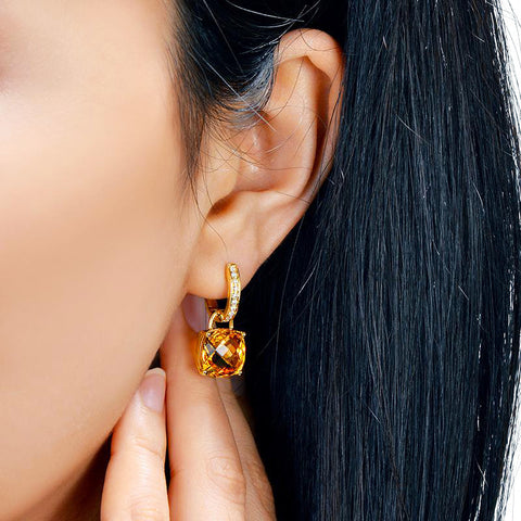Image of Hecate Citrine 14k Gold Earrings